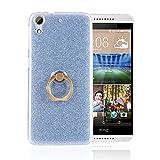 Sunrive Funda para HTC Desire 650/628 / 626 / 626G, Transparente Carcasa Silicona TPU con Anillo Kickstand 360 Grados Giratorio + Ultra Delgado Tarjetas Brillante Fino(Azul)