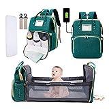 Baby Wickeltasche Rucksack, 3-in-1 Baby Wickeltaschen Multifunktions Reise Rucksack mit Wickelunterlage & Kinderwagengurte, großes Fassungsvermögen, wasserdicht und modisch