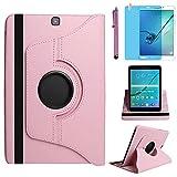 Funda para Samsung Galaxy Tab S2 9.7 Inch Casos SM-T810 SM-T813 SM-T815 SM-T819C,360 Rotación Soporte Protección Cubrir,Tener bolígrafo,Película (Pink)
