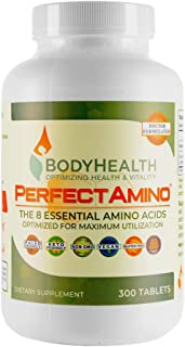 BodyHealth PerfectAmino (300 Tablets) 8 Essential Amino Acids Supplements with BCAA, Increase Muscle Recovery, Boost Energ...