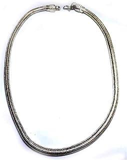 Collana Tonda 48 50 cm Spessore 5-6 mm Snake Bagno Argento Indiano Ottone Bagnato Omaggio amuleto corni