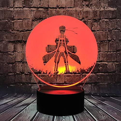 Uzumaki Naruto manga modelo luz 3D óptica ilusión Naruto Sasuke dibujos animados luz nocturna LED 7 colores USB cambio día festivo Navidad cumpleaños Itachi regalo para adolescentes Uchiha Obito