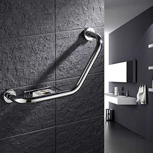 PHOEWON® RVS Grab Bar Anti-Slip Grab Rail Handvat Wandmontage Handdoek Rail Bar Handrail Chroom Badkamer Rail voor Douche Bad Toilet met Zeep Mand Met zeepmand