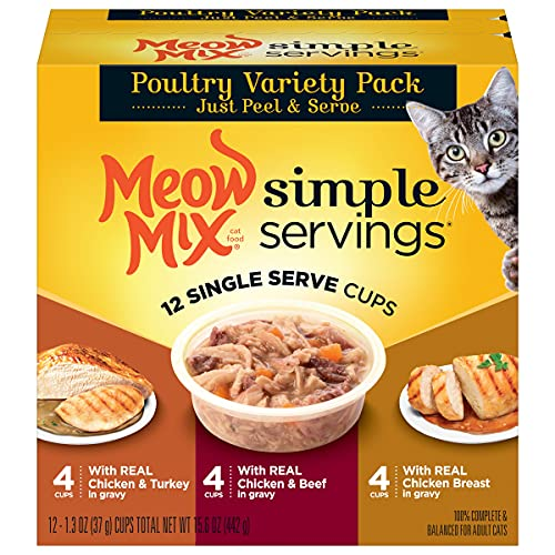 Meow Mix Simple Servings Wet Cat Food, Poultry Variety Pack, 1.3 Ounce Cup (Pack of 48)