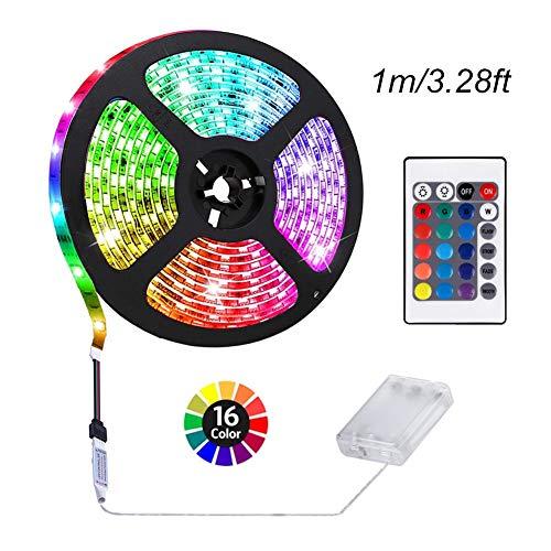 Preisvergleich Produktbild ACONDE 3.28 Fuß batteriebetriebene LED-Streifen-Lichter,  DIY Innendekoration,  24 Schlüssel-Direktübertragung