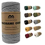 SUNTQ Macrame Cord 4-Strand Twisted (3mmx109yard) Soft Unstained Cotton Rope for Handmade Plant Hanger, Wall Hanging Craft Making, Crafts, Knitting,Decorative Projects Light Gray Color Cotton String…