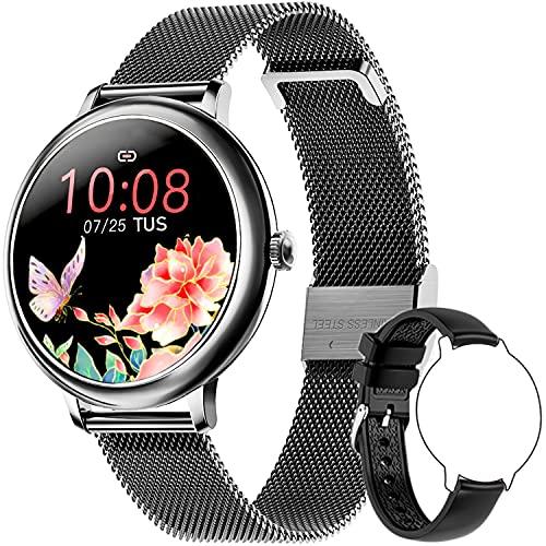 Bengux Smartwatch Mujer, Monitor de Sueño y Caloría Pulsómetro, 7 Modos de Deportes, Reloj Inteligente Impermeable 68, Notificaciones Inteligentes, Reloj Deportivo Mujer para Android iOS (Negro)