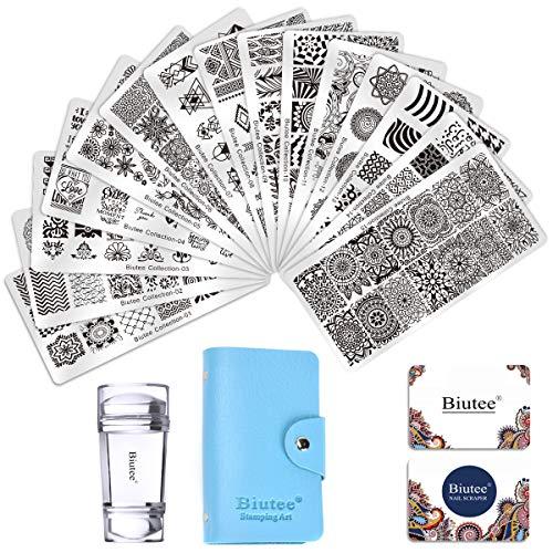 BIUTEE 15pcs Plaque Stamping Nail Art avec Stamper Grattoir Sac de Rangement Modèle Image Lignes LOVE Fleurs Feuilles