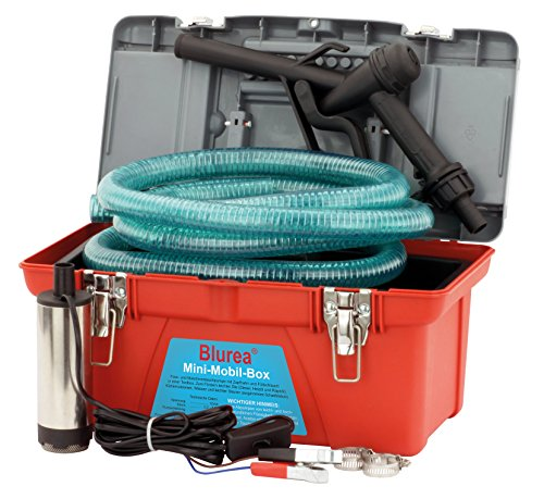 BLUREA Mobile Tankstellen Box mit Tauchpumpe, manueller Zapfpistole und 3m Schlauch mit Schlauchtülle, 12V 18l/min, 230W, Geräusche-Schutzklasse IP55 70db