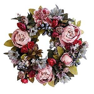 Artificial Wreath Flower Wreath Peony Garland Door Wreath Artificial Wreaths & Garlands with Hanging Leaves Vine Silk Front Door Wreath Spring Summer All Seasons for Farmhouse Office Home Wedding