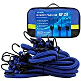 8Pack 36' Heavy Duty Bungee Cord with Hooks, Bungee Cord Assortment Metal Hooks with Storage Bag, Strong Elastic Rope Straps for Outdoor, Trucks, Trailers, Tie Downs, Camping & Cars