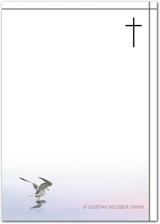 200 Stück Trauerpapier DIN A4 Trauer-Briefpapier    Serie  Helmar - Möwe    22 x 11 cm    90 g m²    für Drucker geeignet  B07BFWXK8F  | Zuverlässige Leistung