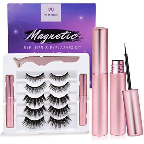 Arishine Magnetic Eyeliner and Lashes Kit, Magnetic Eyeliner for Magnetic Lashes Set, With Reusable Lashes [5]