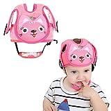 Casco de seguridad ajustable para bebé, anticorrosión, protector de cabeza arneses, sombrero, parachoques, cojín para la cabeza rosa rosa