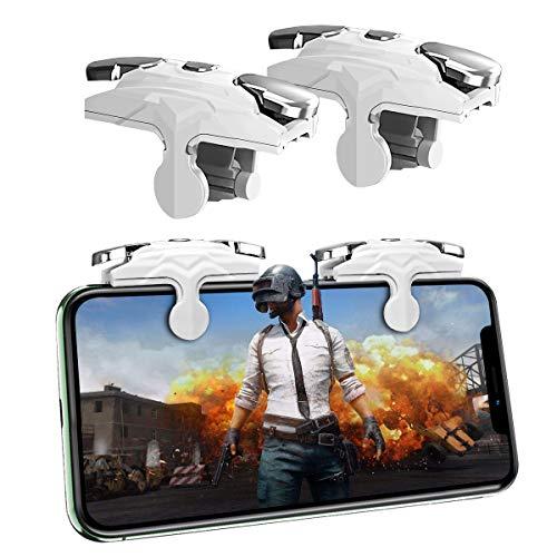 Newseego PUBG Phone Game Trigger,[Respuesta Rápida] Controlador de Juego Móvil para PUBG 1 Par Teléfono Gatillos Sensibles Joysticks Aim & Fire Trigger Keys para PUBG/Knives out L1R1- Blanco
