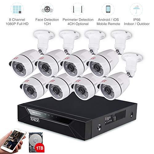 Tonton 8CH Full HD 1080P TVI videobewakingssysteem 8CH recorder met 8 x 1080P outdoor bewakingscamera set met 1 TB harde schijf, 20 m IR nachtzicht, binnen en buiten
