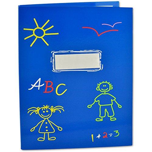 SHACAMO Zeugnismappe ABC für Kinder A4 mit 20 Hüllen (blau)