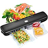 [2020 LATEST] Vacuum Sealer Machine, LaraLov Food Sealer with 15 Vacuum Sealer Bags for Food Saver, Dry  Moist  Point lOuter  Seal Five Food Preservation Modes, Fresh up to 9x Longer, Waterproof Led Indicator Light Easy to Clean Compact Portable Design, Black