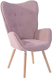 Fauteuil salon grand Fauteuil au style scandinave avec un revêtement en tissu rose, des accoudoirs rembourés et des pieds ...