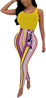 Women Long Bohemian Jumpsuits Summer Stripe Printed Sexy Trouser Rompers