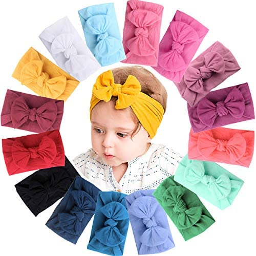 JOYOYO 16 Colors Soft Wide Turban Baby Headbands with 4 5 inches Hair Bow Headwraps for Baby product image