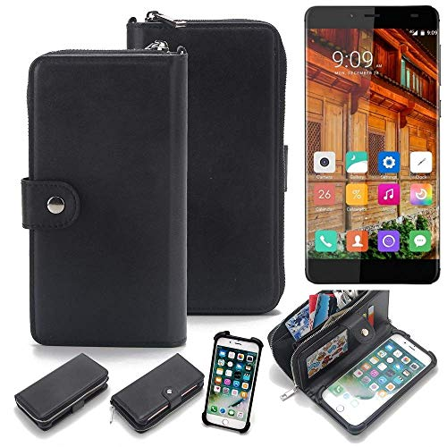 K-S-Trade® 2in1 Handyhülle Für Elephone S3 Lite Schutzhülle und Portemonnee Schutzhülle Tasche Handytasche Case Etui Geldbörse Wallet Bookstyle Hülle Schwarz (1x)