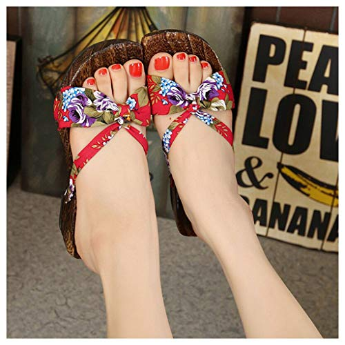 Pantuflas de madera para mujer, estilo chino, kimono japonés, zapatillas planas tradicionales, para mujer, con puntera abierta, para interiores y exteriores, color rojo (color: rojo, tamaño: 39 euros)