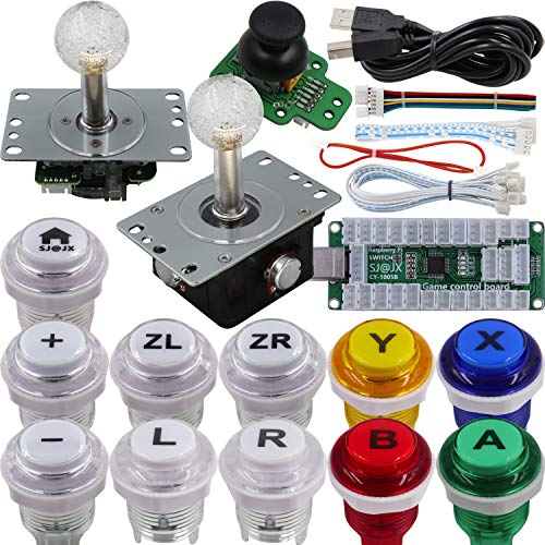 SJ@JX Arcade Game Controller 3D Gamepad Analog Stick Sensor Fly Joystick Microswitch MX LED Button USB Encoder Light Cable for PC PS3 Nintendo Switch Android Raspberry Pi