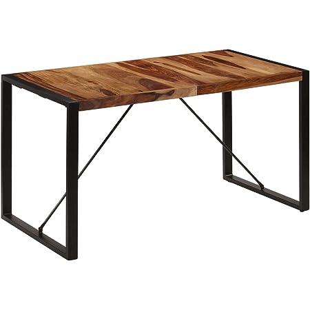 vidaXL Bois de Sesham Massif Table de Salle à Manger Table à Dîner Meuble de Cuisine Table de Repas Mobilier à Dîner Maion Intérieur 140x70x75 cm