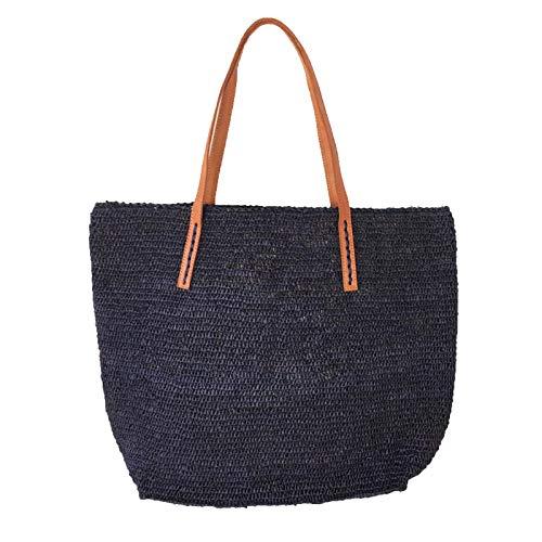 Mar Y Sol Portland Crocheted Raffia Carryall Tote Bag, Navy