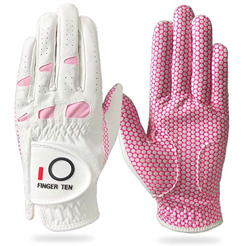 Amy Sport Womens Golf Gloves Left Right Hand Ladies Grips Value 2 Pack, All Weather Grip Rain Pink Lh Rh Size Small Medium Large X-Large (Large, Worn on Right Hand)