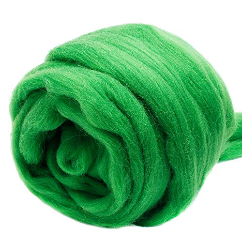 Jupean 3.53oz Wool Roving Yarn, Fiber Roving Wool Top, Wool Felting Supplies, 100% Pure Wool, Chunky Yarn, Spinning Wool Roving for Needle Felting Wet Felting DIY Hand Spinning