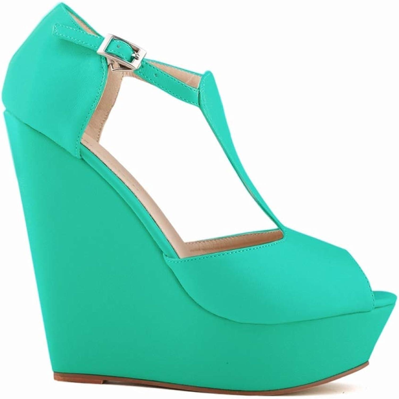 JOYBI Women's Platforms Sandals T-Strap Sexy Ankle Buckle Strap Peep Toe Soft Cutout Dress Party Wedges Sandal