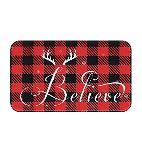 Christmas Buffalo Plaid Area Rug, Red and Black CheckLattice Doormat, Xmas Believe Indoor Floor Mats for Winter, Soft Flannel Rug for Bedroom Living Room Kitchen, 18 x 30 inch