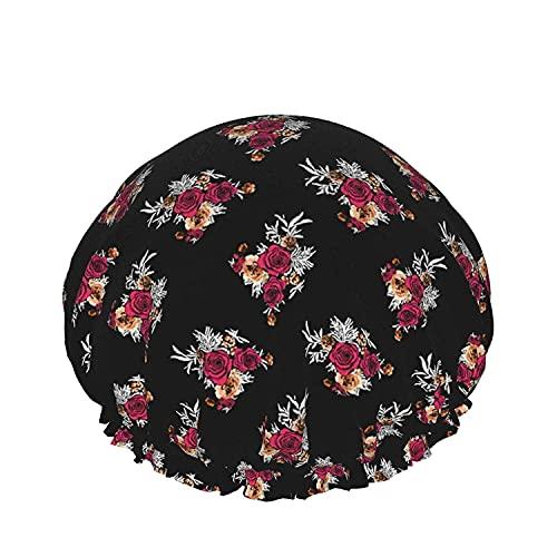 Gorro de ducha de baño con brotes de flores de fantasía de colores brillantes, sombreros de baño elásticos reutilizables para mujeres, impermeables y ajustables
