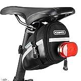 ROSWHEEL 1.2L ポータブル防水 自転車 サドルバッグ バイクテールバッグリアパニエサイクリング用品バッグ黒