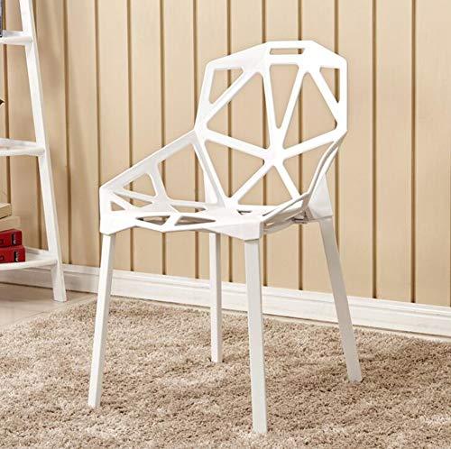 KIMSAI Hollow Plastic Stoel Meubilair Eetstoel Kantoorstoel Buiten Vrije tijd Koffie Computer Stoel, Wit