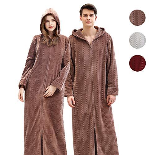 Cimoon 着る毛布 部屋着 ガウン 毛布 レディース メンズ 着るもうふ 冬服 室内服 フランネル ルームウェア 洗える フード ポケット付き フード付きヒートウォーム ふわふわ保温 男女兼用 120cm 130cm 140cm… (コーヒー色, M)