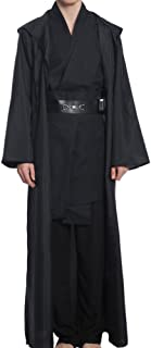 Adult Tunic Hooded Robe Outfit for Jedi Costume Black Version