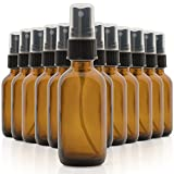 Set of 12, 2oz Amber Glass Spray Bottles for Essential Oils - with...