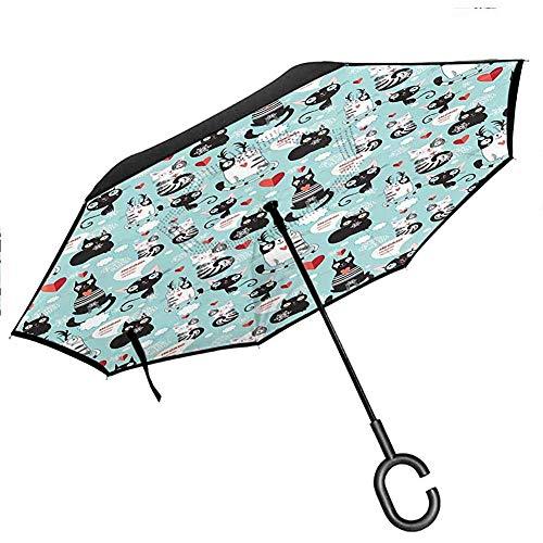 Karikatur-umgekehrter Regenschirm-Schattenbild des Cowboyreitpferdereiter-Seil-Sport-Land-Western-Art Reverse Long Umbrellas, Schwarzweiss