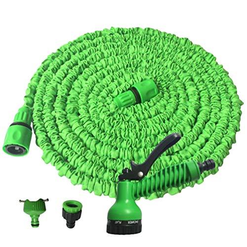 Baijiaye Uitrekbare Tuinslang 7.5m/15m/22.5m/30m/37.5m/45m voor BloemenIrrigatie Auto Tuin Intrekbare Tuinslang Irrigatie 7 in 1 Spray Snelle Connector Groen 150FT/45m