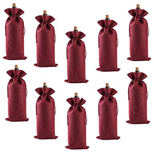 MOTZU 10 Stück, Wein Beutel mit Kordelzug, Flaschenbeutel aus Jute, | 16x36cm| Rotwein Weißwein Liquor Flaschentaschen,Geschenk Verpackung Champagner Beutel, Tischschmuck für Hochzeitsfeier,Rot Farbe