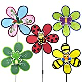 FENELY Garden Pinwheels Whirligigs Wind Spinners Kids Toys for Yard Decor Windmill Bird Deterrent Lawn Decorations Beetle Bee Frog Decorative Garden Stakes Outdoor Whimsical Baby Gifts
