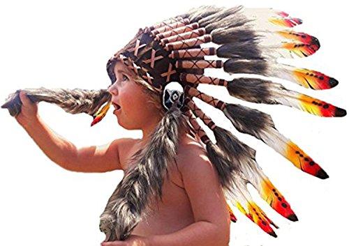 KARMABCN N11- De 2-5 aos Nio/Nio: 3 Colores Indian Headdress 20,5 Inch. - 52 cm (Red&Yellow Swan)