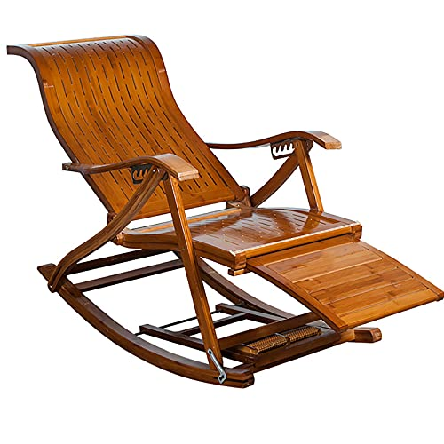 ZHIQ Outdoor Folding Rocking Chair 6 Gears Adjustable Bamboo Recliner Chair - with Footrest and Foot Massage, Leisure Chair for Garden Living Room Balcony