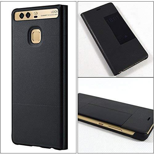 Leder Tasche Schutzhülle Case Flip View Cover für Huawei P9 Schwarz - 3
