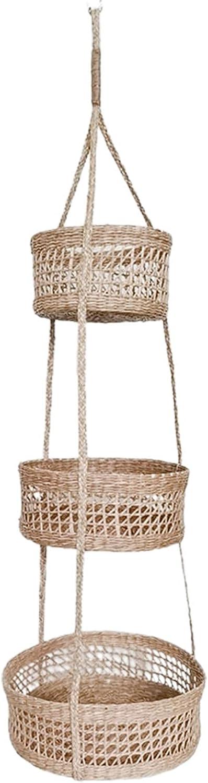 Hanging Fruit Basket 3 Tier Brand new Oklahoma City Mall Kit Straw Wall Boho