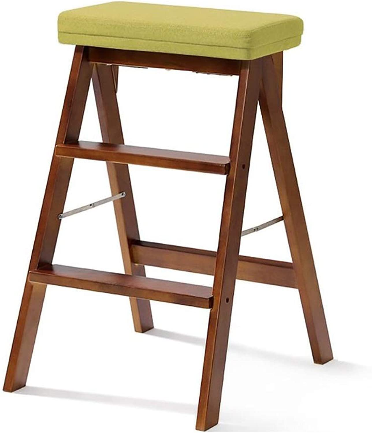 GAIXIA-Ladder stool Staircase Stool Solid Wood Stair Stool Folding Chair Linen Seat Living Room Kitchen Library Three-Layer Multifunctional Brown 42x48x64CM (color   Green)