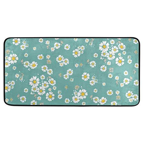 Bardic anti-slip deurmat wit klein bloemmotief deurmat machine wasbare slaapkamer mat voor het leven dineren kamer slaapkamer keuken,50.8x99cm
